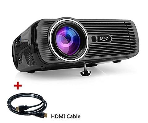 LED-Videoprojektor, OGIMA 1200 Lumen Hauptprojektor mit freiem HDMI AV /