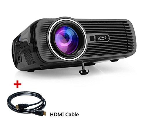 LED-Videoprojektor, OGIMA 1200 Lumen Hauptprojektor mit freiem HDMI AV / VGA / USB / SD / HDMI / TV Unterstützung 800 * 480 Entschließung für 1080P Heimkino-Theater-Fernsehspiel SD Android Smartphone, 1 JAHRE GARANTIE