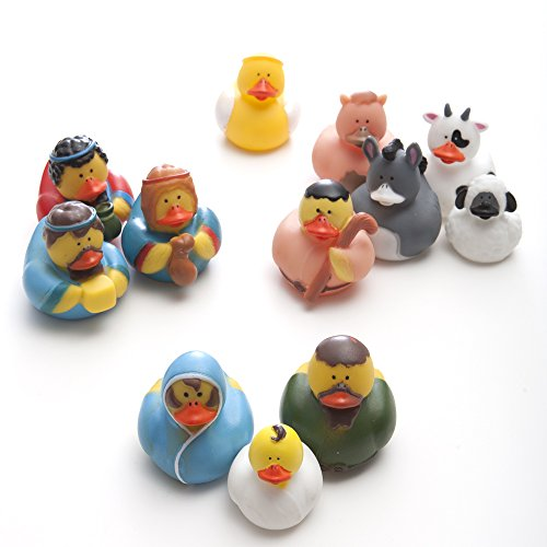 Fun Express Christmas Nativity Scene Rubber Duckie Ducky Duck Toy (12 Piece)