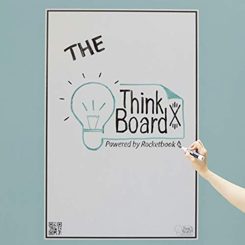 Think Board X Rocketbook Smart Stick-Up Whiteboard - Lavagna bianca - 600x900mm - Trasforma qualsiasi superficie in una lavagna bianca - Usa Rocketbook App per caricare le note sul Cloud
