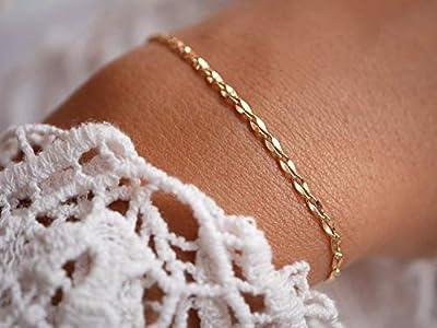 Bracelet gourmette fine plaqué or - bracelet chaine fine dorée - bracelet minimaliste - bracelet maillon large - gourmette femme -empilable