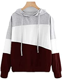 Kukul 2017 Sudaderas con Capucha Mujer - 2017 Hoodie Pullover Camiseta Blusa Tops de Manga Larga Empalme de Moda Basico Deportivo para…