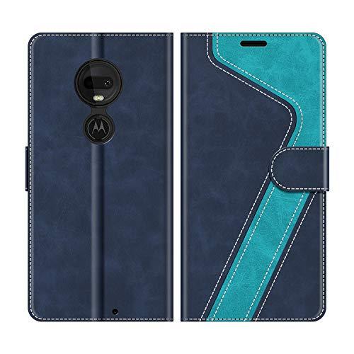 MOBESV Handyhülle für Motorola Moto G7, Motorola Moto G7 Plus Hülle Leder, Motorola Moto G7 Klapphülle Handytasche Case für Motorola Moto G7 / Moto G7 Plus Handy Hüllen, Modisch Blau