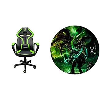 Woxter Stinger Station Alien V2.0 Green – Silla gaming con eje de acero + Alfombrilla Gaming de suelo