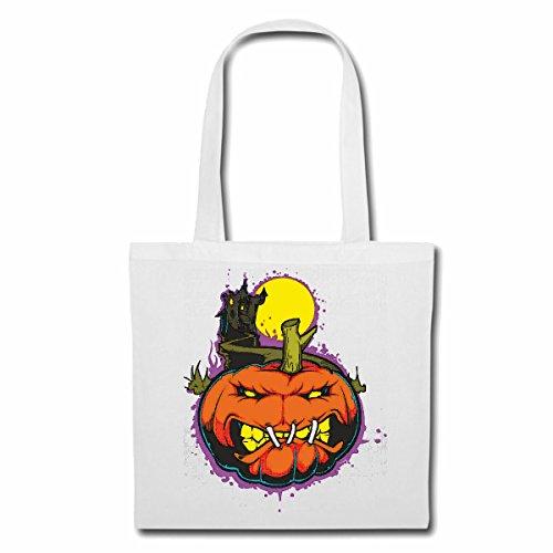 (Tasche Umhängetasche KÜRBIS Halloween Schloss Halloween Oktober KÜRBIS Walpurgisnacht FRÖHLICH TRAURIG Gothic Einkaufstasche Schulbeutel Turnbeutel in Weiß)