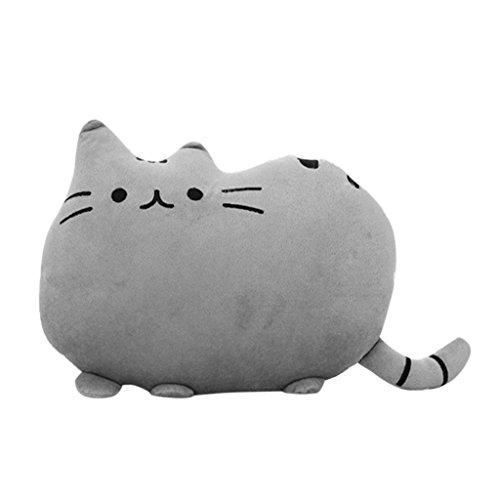 Deko-Kissen, Katzenform, für Sofa, Plüsch, Deko, Stofftier, 38cm, 1 Stück, grau