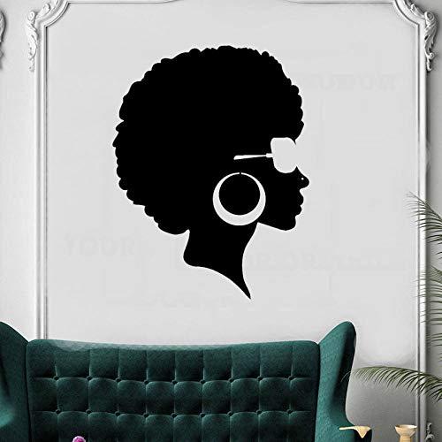 zqyjhkou Afro Frisur Black Lady Beauty Salon Aufkleber Schönes Gesicht Frau Vinyl Wandtattoo Abnehmbare Friseursalon Friseur Muralzw234 33x42cm -