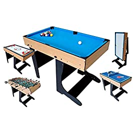 Table Multi Jeux 5 en 1 Pliante-Billard//Babyfoot//Hockey//Tennis de Table//Basketball 103.4*57.5*72cm Pliable JH