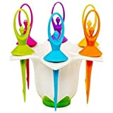 Kitch-Max 17 Multicolour Plastic Dancing Doll Fruit Fork Cutlery Set With Stand Set Of 6