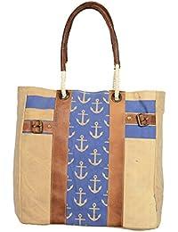 Priti Luxury Design Handbag Tote Bag Travel Bag In Washed Canvas Leather