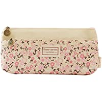 cosanter Bleistift Tasche Halter weichen Tuch LITTLE FLOWER Muster Make-up Gläser Tasche für Mädchen (beige)