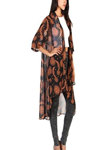 Hmeng Frauen Boho Printed Chiffon lose Schal Kimono Cardigan Tops vertuschen Bluse S/M/L/XL (Braun, M) -