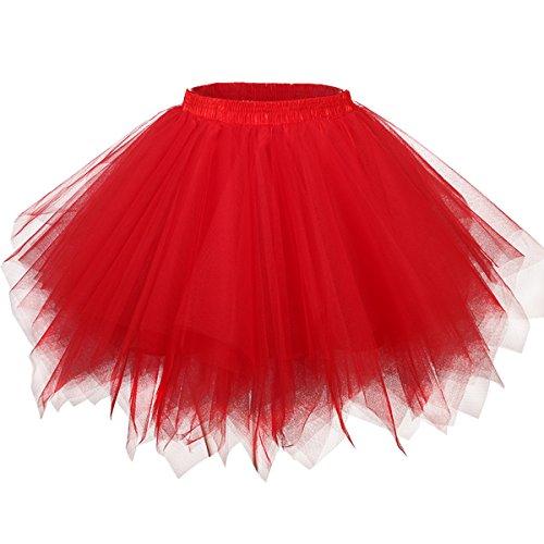50er Vintage Tüllrock Petticoat Mehrfarbig Bubble Tanzkleid Rock Rot-S/M ()