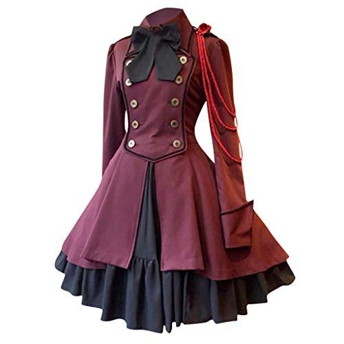 LILIHOT Mode Frauen Halloween Vintage Gothic Court Square Kragen Patchwork Prinzessin Kleid Mittelalter Kostüm Luxuriös Mittelalterlichen Adels Palast Kleid (Aztec Indischen Kostüm)