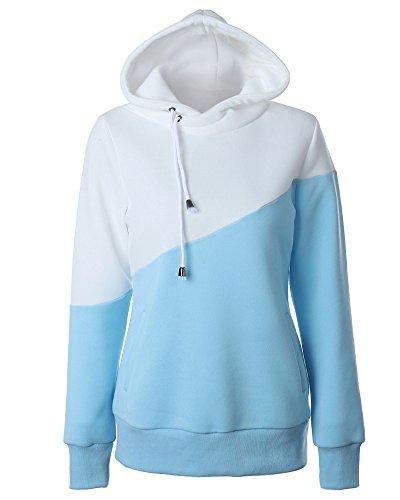 Donna Sportive Pullover Colore Contrasto Felpa con Cappuccio Maniche Lunghe Maglia Maglione Hoodies Blu Bianco