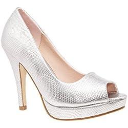 Andres Machado - Zapatos con tacón Mujer, Color Plateado, Talla 45 EU
