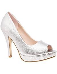 Andres Machado. AM5003.Peep-Toes en Soft y Plataforma.Mujer.Tallas Pequeñas/Grandes. 32/35-42/45.