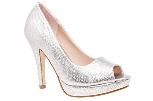 AM5003 - Andres Machado - Peeptoes in Weiss Lack mit Plateau Braut Gravur Silber
