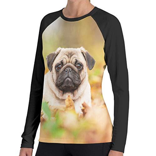 Herren Langarm Classic T-Shirt, Women's Casual Pug Long Reglan Baseball Tee -