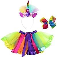 FENICAL Falda del tutú del Arco Iris de Las Muchachas 3pcs con los Trajes del Arco del Pelo de la Venda del Unicornio para el Partido (Arco Iris, l)