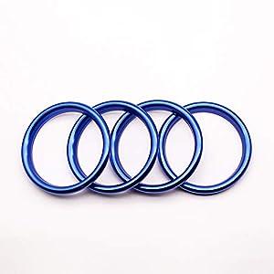 Freeauto Klimaanlage Air Vent Outlet Ring Abdeckung Trim Dekoration Aufkleber Für Audi A3 S3 2013-2016 / Q2 2017 Zubehör, Auto-Styling 4 stücke (Blau)