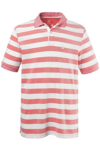 JP 1880 Herren große Größen bis 7 XL | Poloshirt gestreift | Shirt aus 100 % Baumwolle | Knopfleiste, Polokragen & Seitenschlitze | Pikee-Jersey | Regular Fit | 702546 Magenta