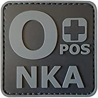 ACU Subdued OPOS O+ NKA Blood Type No Known Allergies Morale PVC Rubber Touch Fastener Patch