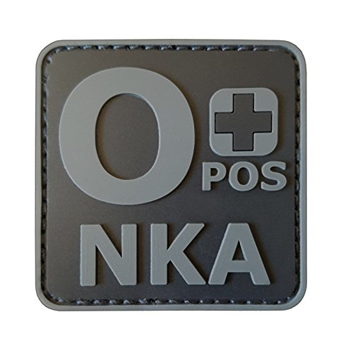 2AFTER1 ACU Subdued OPOS O+ NKA Blood Type No Known Allergies Morale PVC Rubber Touch Fastener Patch - Blood Type Patches