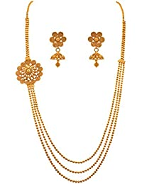JFL - Traditional Ethnic One Gram Gold Plated Multi Strand Designer Long Necklace Set For Women & Girls.