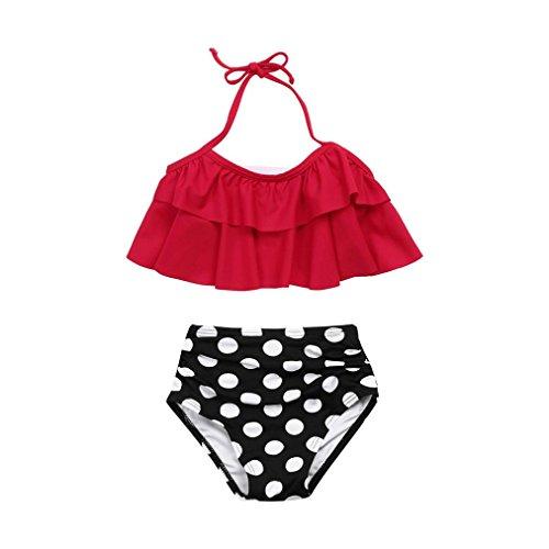 ile Kinder Baby 2 Stück Bikini Set Kinder Niedlich Ärmellos Halter Neck Monokini Blumenmuster Sommer Sexy Badebekleidung Rüsche Badeanzug Beachwear (140, Rot) (Mädchen Bekommen Gestreift)
