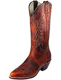 Botas de los EE.UU.-Botas, botas de cowboy BO-6008-17-C (pie normal), diseño de mujer, color marrón