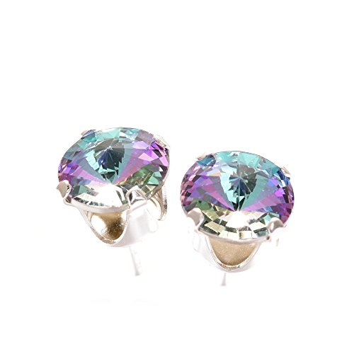 pewterhooter 925 Sterling Silver Stud Earrings Expertly Made With Starlight Crystal From SWAROVSKI® For Women
