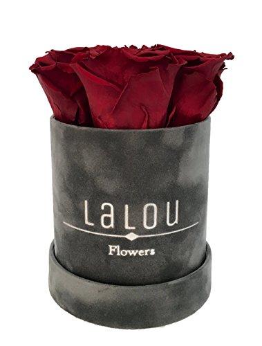 Rosenbox / Flowerbox / Geburtstagsgeschenk / Blumen schenken / Echte Rosen die bis zu 3 Jahren blühen / Lalou Flowerbox mit Grußkarte (Grau) (Box Flower)