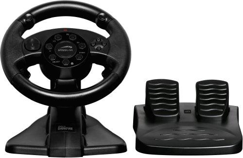 Speedlink Darkfire Lenkrad für Playstation 3/PS3 und PC (Vibrationsfunktion, 12 digitale Tasten, Schaltwippen, Lenkbereich von 220 Grad) -