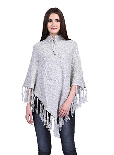 eWools Women Ladies Girls Winter Wear Round Neck Self Design Woolen Dori Design Poncho