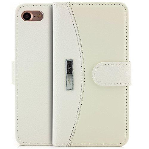 zanasta Tasche iPhone 8 / iPhone 7 Hülle Flip Case Schutzhülle Cover Handytasche Wallet mit Kartenfach Weiß Weiß