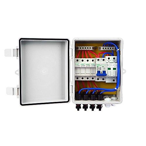 ECOWORTHY 4Saiten PV Combiner Box 10A vorzubeugen mit Kunststoff ABS Cover Elektrische Box-Wasserdicht auslaufsicher Sicheren Schutz PV Combiner Box für Solar System Kit - Pv-breaker