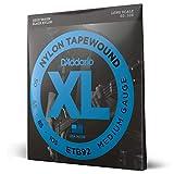 D'Addario Cordes pour basse avec revêtement nylon D'Addario Tapewound ETB92 Medium 50-105 cordes longues