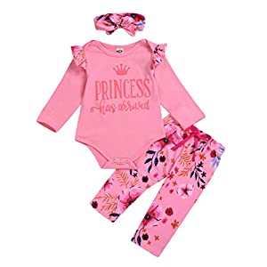 Greenwind Mameluco del bebé 3Pcs Infantil Baby Girls Letter Flower Print Romper Pants Hairband Outfits Set 6