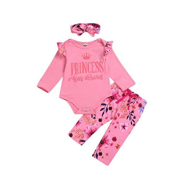 Greenwind Mameluco del bebé 3Pcs Infantil Baby Girls Letter Flower Print Romper Pants Hairband Outfits Set 1