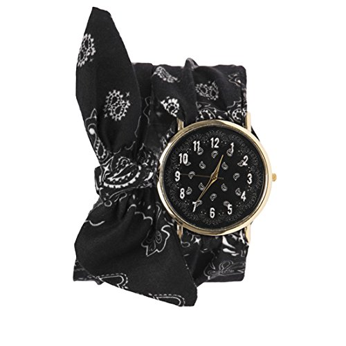 Souarts Damen Armbanduhr Herz Muster Schleife Schal Band Deko Uhr mit Batterie