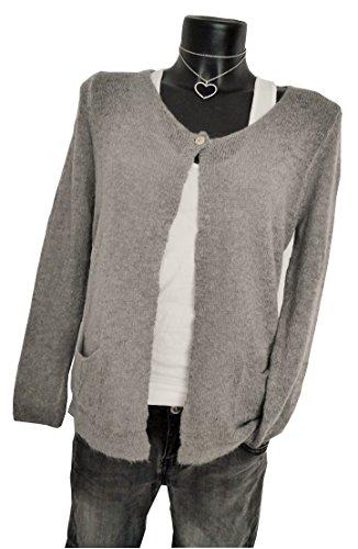 Fashion Trend Mode Knitwear edle und feminine Strickjacke Cardigan Weste grau grey M 38 40 casual boho nude (920)
