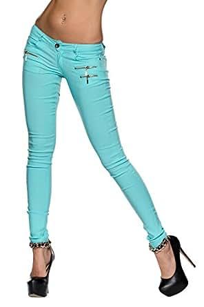 5721 Fashion4Young Damen Jeans Stretch-Stof Hose verfügbar in 4 Größen 4 Farben (L = 38, Türkisblau)