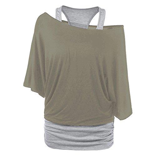 Femme Tshirt manches longues Sweat-shirt + Gilet - Hibote Femmes 2 pièces Chemises Slim Gilet Oversize Chemise Sexy Off épaule Blouse Baggy Tops Noir Kaki Gris clair S M L XL XXL Kaki
