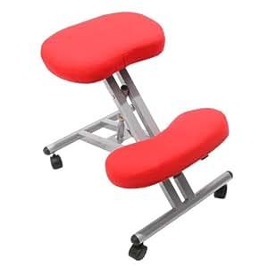 Sedia sgabello ergonomica melton tessuto 60x45 5cm rosso for Silla ergonomica amazon