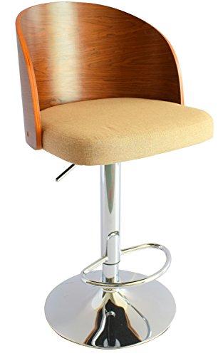 ts-ideen 1x Design Club Stuhl Barhocker Barstuhl Küchen Esszimmer Sitz Höhenverstellbar Stoff Beige Holz Walnuss