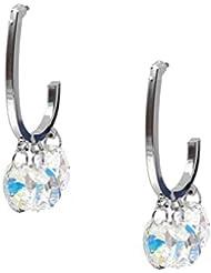 2015 Totoroforet de moda para tus brillantes SWAROVSKI de cristal de Juego de pendientes de Media-oval
