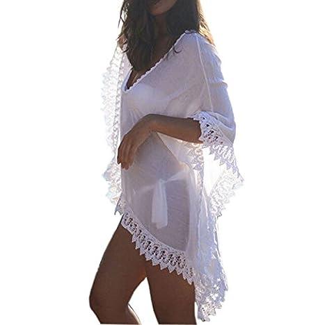Gankarii - Beach Cover Up Womens Loose Beachwear Swimwear Bikini Cover-up Beach Dress (One Size White)