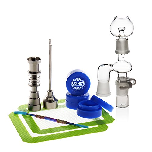 REANICE BOX 1-PACK Titan Nail 10mm/14mm/18mm Nail + 3-PACK Non Stick Silikon Wachs Dab Boxcontainer+ 1-PACK Dabber Wax + 2-PACK Silikonmatte + 1-PACK Zubehör Glas Bong + 1-PACK Ash Catcher - Ash Catcher