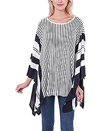 754f28f484fb Châle Femme Printemps Automne Fashion Poncho Foulards Du Cou Elégante  Décontracté Mode Chic Echarpe Pinstripe